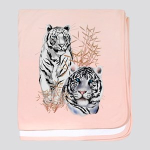 White Tigers Shirts baby blanket